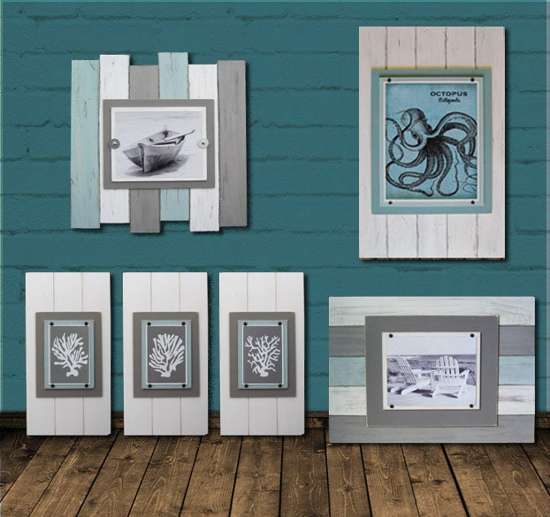 Frame 8X10 BIG 17x24 Distressed with Seafoam, Gray and White Planks ...