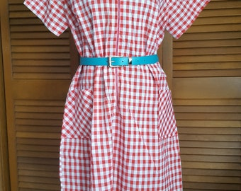 Vintage Sue Sherry Red Gingham Zip-Front Day Dress - Size XL (Belt Not Included)
