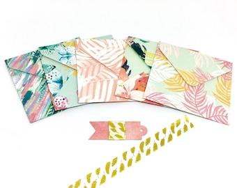 Mini envelopes, handmade envelopes, tropical envelopes