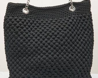 Crochet black shoulder bag