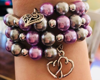 Purple and Gray beaded memory wire bracelet with double hearted charms