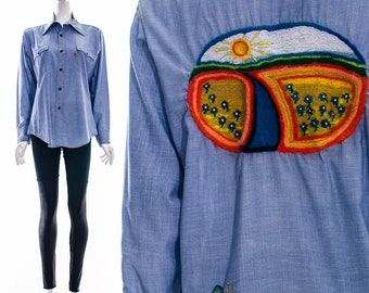 Vtg 60s 70s Authentic LEVIS Chambray Button Down Hippie Blouse with Hand Embroidery Garden Butterfly Rainbow Sunny Day Hippy Boho Chic M