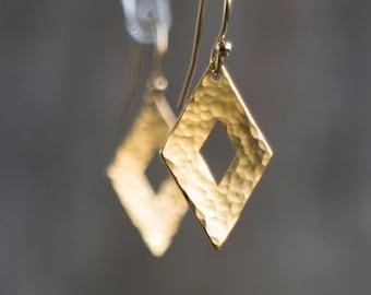 Gold Earrings, Gift for Her, Gift for Woman, Geometric Earrings, Dangle Earrings, Rhombus Drop Earrings, Minimalist Jewelry, Hammered Gold