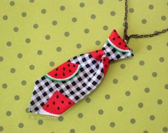 Unisex Mini Tie Watermelon Necklace Pin