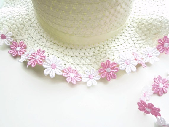 Pink White Flower Lace, Pink Guipure Lace Ribbon, Pink Flower Venise Lace Trim, Passementerie flowers, Pink embroidered lace trim