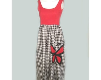 SALE Vintage 1960's Gingham Dress with Butterfly Applique