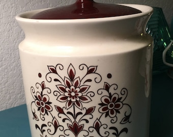 Vintage brown and white ceramic canister