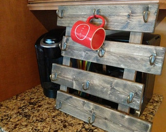 Coffee mug rack, wall mounted, rustic decor, holds 12 mugs