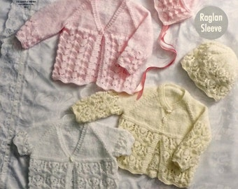 Baby Knitting Pattern K4687 Baby Matinee Jackets, Bootees, Bonnet & Hat Knitting Pattern4ply (Sport) King Cole