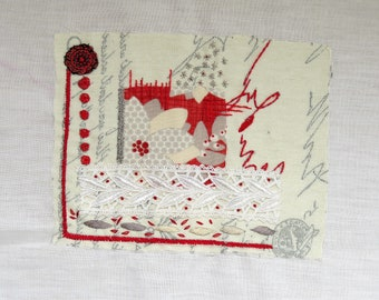 Red and white print embroidery art, Fiber art, hand embroidery, Living room wall decor, Abstract embroidery artwork, mothers day gift