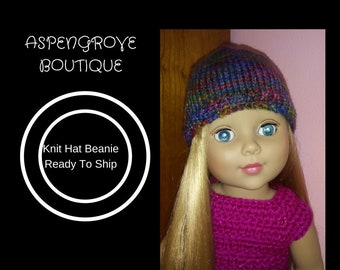 18 inch doll knit beanie hat girl doll doll accessories ag crochet ready to ship