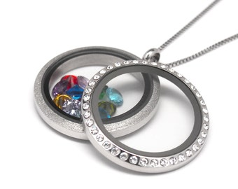Double Sided Floating Charm Memory Living Locket necklace with adjustable stainless steel chain and 12 Crystal Birthstones