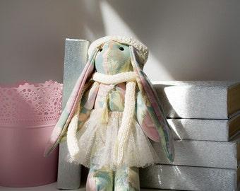 Bunny toy Stuffed animal Fabric doll Art toy Home decor Upcycled fabric toy Plush animal Nursery decor Baby girl nursery