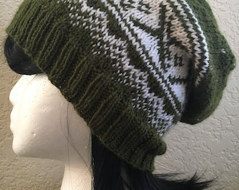 Nordic Night Slouchy Beanie   Fair Isle Norwegian Beanie   Slouchy Norwegian Style Knit Hat   Multiple Colors Available!