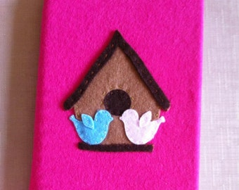 Birdhouse felt covered sketchbook , a5 sketchbook, birdhouse sketchbook, secret santa gift