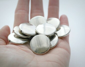 Silver Coated Acrylic Beads Flat Coin Bead 25mm (12)