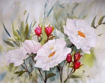 Summer Roses Watercolour Print, Irish wild roses. Made in Ireland, Irish Art, From Original Watercolour. Perfect for Garden Lovers, Handmade