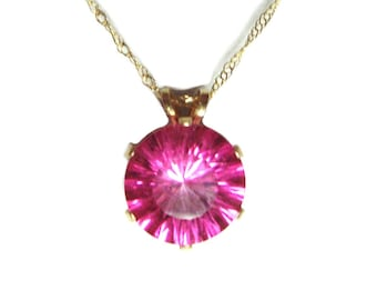 SALE Pink Topaz 14k gold pendant and chain