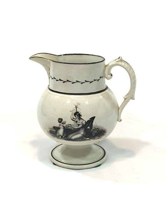 English Bat Printed Creamware Jug, Footed Pedestal, Black Neo Classical Mother Child Doll Lyre, 1790s 1810s Antique Georgian Pitcher
