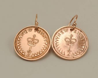 British Coin Earrings Half New Penny 1973 and 1977