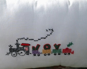 Hand Embroidered Christmas Cross-Stitch Joy Train Pillow