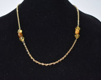 Necklace 12K GF with tiger eye and glass beads