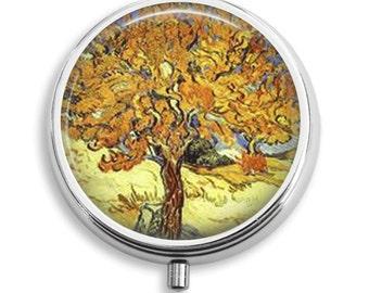Mulberry Tree Van Gogh Impressionist Painter Pill Case Pill Box Case Trinket Box Vitamin Holder Medicine Box Mint Tin Gifts For Her