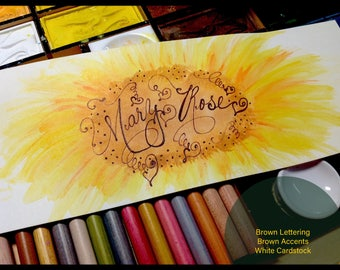 Custom Wedding Calligraphy Place Card ~ Escort ~ Thank You Note ~ Favor Tag ~ Handwritten ~ Affordable ~ Hand Painted Watercolor Sunflowers