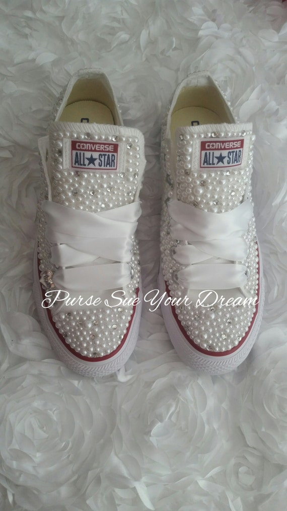 Bridal Pearl and Crystal Rhinestone Custom Converse Wedding