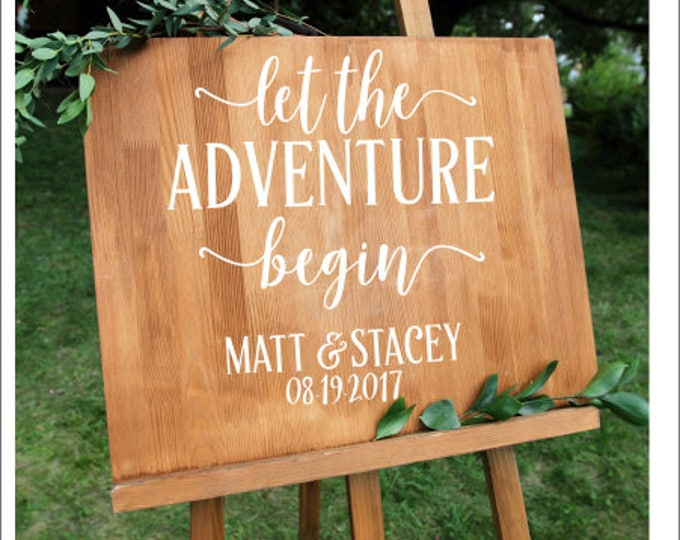 Let the Adventure Begin Wedding Decal Personalized Couples Names and Date Rustic Adventure Themed Wedding Decor DIY Vinyl Decal