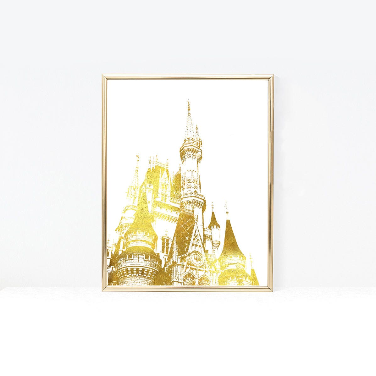 Disney Castle Silhouette Printable Wall Art Disney Gold