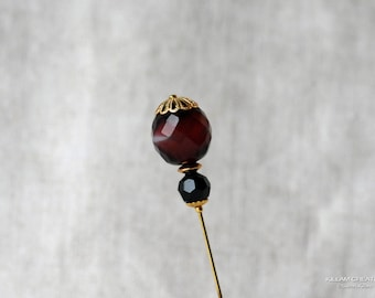 Czech Glass, Red, Givre, Vintage Beads, Black, 3 Inch Stick Pin, Gold Tone, Hat Pin, Lapel Pin, Hijab Pin H0380