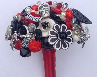 Rockabilly  Button Bouquet.   Alternative Wedding Bouquet.  Keepsake Bouquet.   Bridal Bouquet