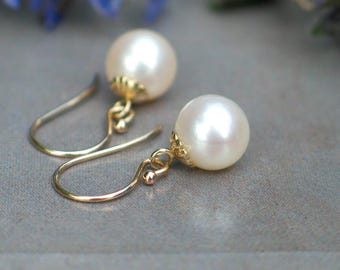 14k Yellow Gold Pearl Earrings | 8mm White Freshwater Pearl | Fluted Detail | June Birthstone | Everyday Pearl Dangles | Mother's Day Gift