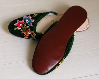 Vintage 60s Chinese House Shoes Slippers Small 5 6