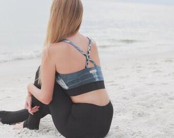 Sports Bra - Racerback Top - Workout Top - Tie Dye Yoga Top - Activewear - Organic Yoga Wear - Yoga Clothing - Organic Sports Wear
