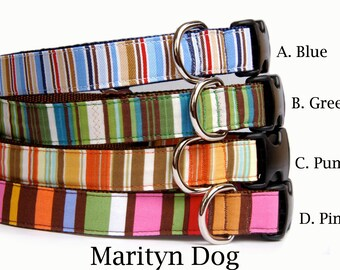 Dog collar Stripe dog collar Blue Green boy dog collar Girl dog collar Cute dog collar Orange dog collar adjustable designer dog collar cu