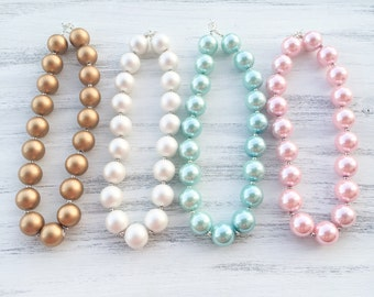 Pearl Bubblegum Necklace, Pearl Chunky Necklace, Large Pearl Necklace, Blue Baby Necklace, Pink 1st Birthday Necklace, Gold Toddler Necklace