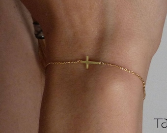 Gold Cross Bracelet, 14k Solid Gold, Simple Cross Bracelet, Everyday Jewelry, Gold Chain Bracelet, Sideways Cross Bracelet, Baptism Gift