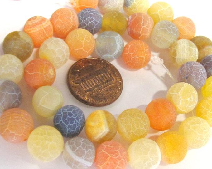 1 strand  - Soft pastel yellow orange grey tones dragon vein agate gemstone beads 14 inches - GM379