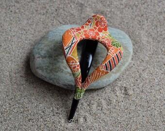 Vintage Silk Kimono French Hair Clip