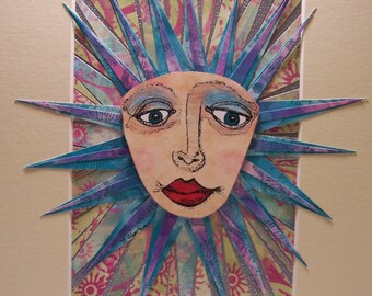 Sun Face Mosaic Collage Original Pen and Ink with Hand drawn and hand  printed papers Matted 8x10 - by Jennifer Obertin
