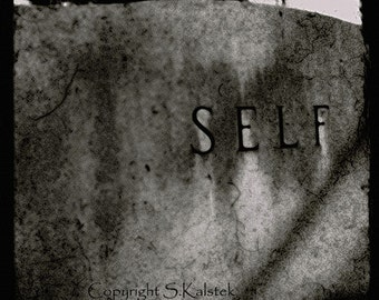 Surreal Tombstone Art Photograph Black and White Graveyard Cemetery Art  8x8 Photography