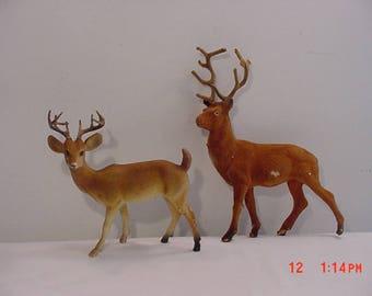 2 Vintage Plastic Flocked - Deer - Reindeer - Buck - Figurines  17 - 1272