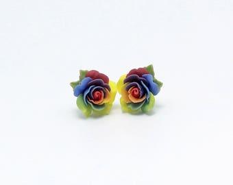 Earrings-Rainbow roses- stud earrings -siver plated