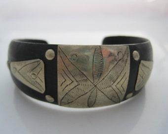 Tuareg Bracelet, Ebony and Metal, Artisan Made, Berber Saharan Jewelry