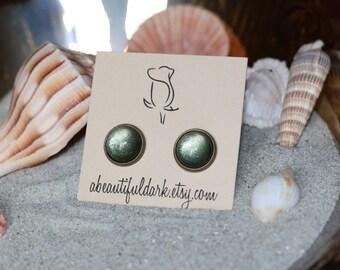 Evergreen Shimmer Earrings - Antique Bronze Stud Earrings