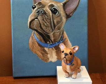 Combined Custom Pet Portrait and Sculpture