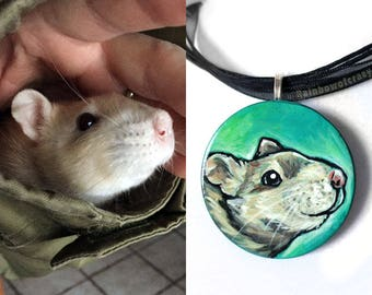 Custom Necklace, Pet Painting, Animal Portrait, Pet Owner Gift, Hand Painted Wood Pendant, Circle Jewelry, Dog Art, Cat Lover, Rat Love