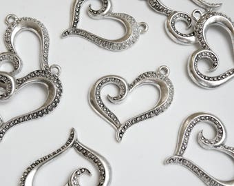 5 Swirly Hearts large charms open beaded antique silver 37x28mm PA19342